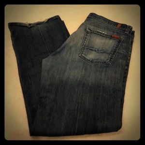 7 for all Mankind relaxed fit blue jeans